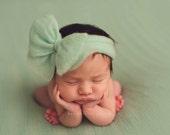 Newborn Big Bow - Mint
