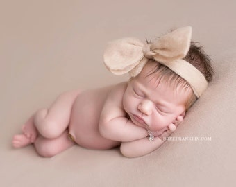 Hand Felted Big Bow, Head Band Newborn - Cafe Con Leche Color