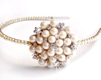 Pearl and Rhinestone Statement Bridal Headband - Ivory Pearls - Vintage Style Brooch - Asymmetrical Bridal Headband - Pearl Hairpiece