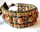 Beaded leather wrap bracelet or cuff - Autumn Jasper stone with wooden buttons