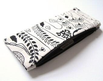 Organic Cotton Pencil Case - Black Wildflower Motif