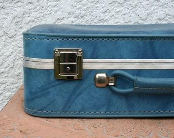 Vintage Turquoise Blue Suitcase