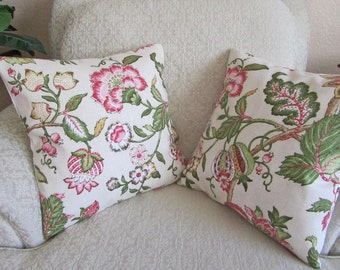 Cottage Chic Decor, Floral Throw Pillow Covers, Pink Floral Cushion Covers, Pink Pillow Covers, Green, Gold - Set of Two - 16 x 16 Boscobell