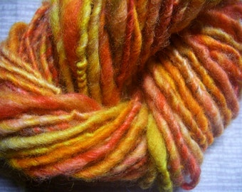 Handspun Hand Dyed Worsted Weight Organic Wool Yarn in Bright Red and Gold by KnoxFarmFiber for Knit Crochet Weave