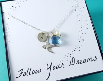 Graduation gift, Personalized necklace, sterling silver dove necklace, initial necklace, birthstone necklace, flying bird charm