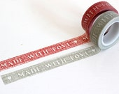 Made with Love Gray and white or Red and white texture look washi tape Choose 1 roll, Japanese masking tape craft supply