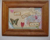 COLLAGE Art - Friendship Art - Paper and lace art - Friendship blessing- Butterfly Collage Art - 6x8 inches - Framed quote