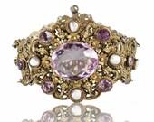 ON HOLD Victorian Bracelet, Amethyst Bracelet, Austro Hungarian Bracelet, Silver Victorian Jewelry Antique Bracelet, Statement