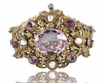 Victorian Bracelet, Amethyst Bracelet, Austro Hungarian Cuff Bracelet, Silver Antique Jewelry Victorian Jewelry Antique Bracelet, Statement