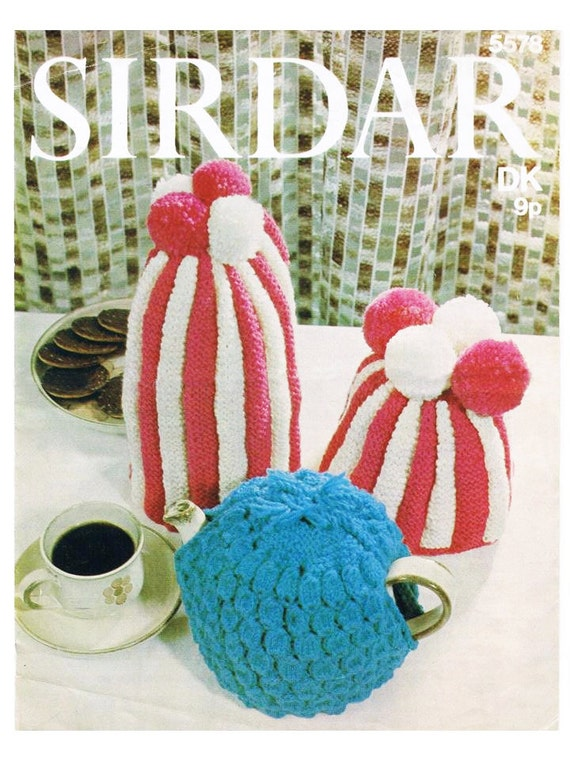 Coffee Pot Cosy Knitting Pattern : Knitted Striped Tea Cosy and Coffee Pot Cover and one plain