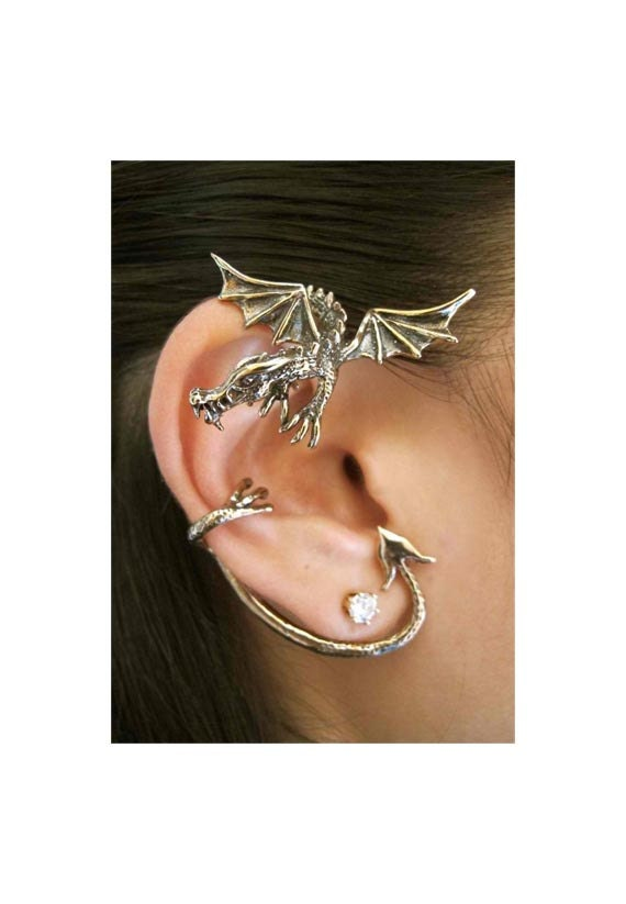 Dragon ear wrap dragon ear cuff bronze guardian dragon ear - Game of thrones dragon ear cuff ...