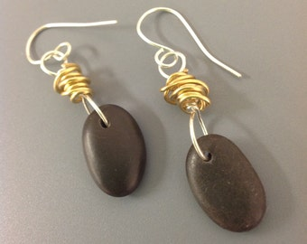 Brass and basalt beach stone earrings