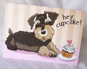 Schnauzer Cupcake Greeting Card