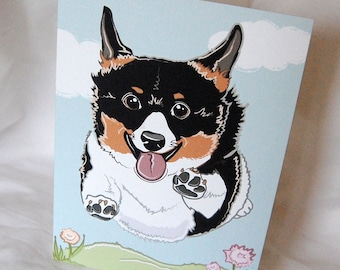 Flying Tri-Color Corgi Greeting Card