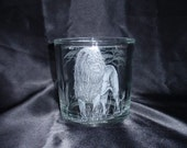 Etched Glass, African Male, Lion, Hand Carved, Glass, Big Five, Candle Holder, Housewarming,  Home Decor, King of the Jungle