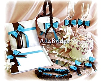 Wedding Flower Girl Basket, Ring Pillow, Guest Book, Bridal Garter Set, Cake Set, Flutes  9pc Turquoise and Chocolate Brown