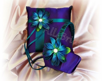 Purple and Teal wedding flower girl basket and ring pillow.  Weddings decorations basket and pillow set.