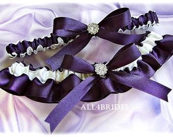 Bridal wedding leg garter set,  Lapis garters - Wedding Bridal Accessories, Deep Purple bridal keepsake and toss garters