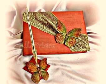 Butterfly wedding guest book and pen set, persimmon, gold and burnt orange.