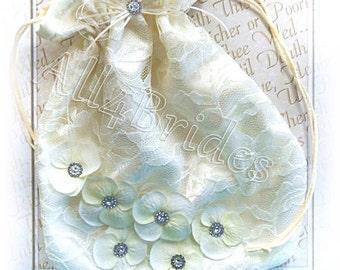Ivory Satin and Lace Bridal Drawstring Bag With Ivory Hydrangeas, Wedding Dance Bag, Bridal Purse Bag, Lingerie Bag