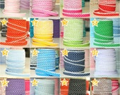SPECIAL OFFER: Buy 5 Get 6 Meters Double fold picot crochet bias tape, crochet bias tape,  purple bias tape, polka dot bias tape