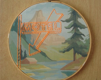 Embroidered Motel Sign on Cabin in the Woods Paint by Number Fabric Hoop