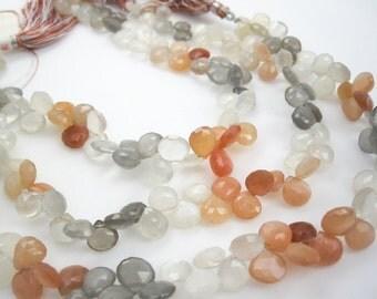 Rainbow Moonstone Briolettes, Peach Moonstone Bead, Drops, Multi Color Moonstone, Gray Moonstone, White Moonstone, SKU 3568