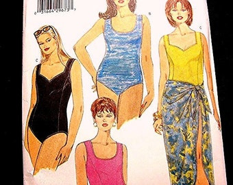 Womens One Piece Swimsuit Pattern Plus Size 22 24 26 UNCUT Bathing Suit with Wrap Skirt Cover up Pattern