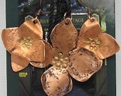 Copper Dogwood Pendant Earring Set. Copper Flower Earrings/Pendant - Mother Gift.