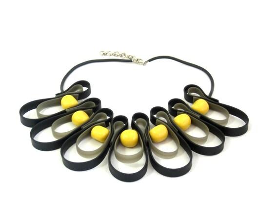 Black necklace geometric jewelry urban street wear rubber necklace