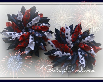 4th of July Dot Small Korker Set Patriotic Navy Red White