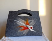 Purse - Elegant Handbag...Tribal...Bohemian...Hand Made...White Bead Detail...Hand Felted Design