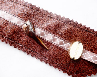 Bookmark...Brown and Shell Bead...Hand made with Fabric