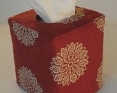 Tissue Box Cover - Faded Red and Beige Damask Reversible