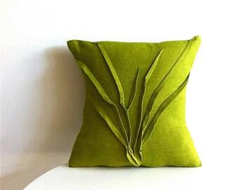 sculpted grass pillow - moss green linen - textured pillow