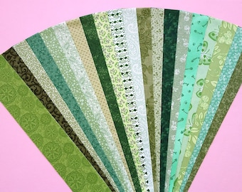 Fabric Green Cotton Jelly Roll Quilting Strip Pack Material Die Cut 20 Strips No Dups (sku JR120-GREE)