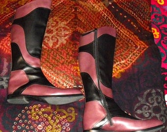 Vintage Spectacular Miu Miu Leather Patchwork Riding Boots sz 40