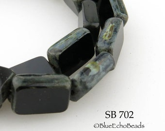 Window Cut Rectangle Czech Glass Black Beads 12mm Table Cut Picasso Edge (SB 702) blueecho 10 pcs