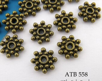 9mm Antique Brass Beads  Star Rondelle Antiqued Bronze (ATB 558) 20 pcs BlueEchoBeads