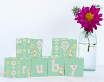 Gnome Girl  Personalized Name Blocks, Nursery Decor, Nursery Name Personalized Wooden Blocks