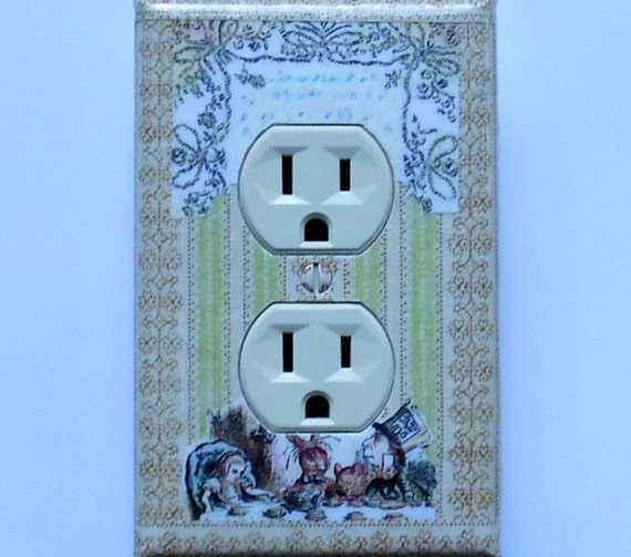 The Mad Tea Party and Wallpaper-  A SINGLE Outlet cover plate- Alice tea party We're all mad here Alice wall decoration (ready to ship/ P-a)