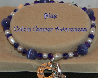 COLON CANCER Awareness BLUE Stretch Beaded Bracelet Hope Ribbon & Heart Charm