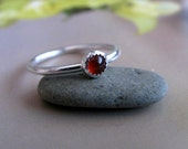 Delicate Carnelian Ring, Sterling Silver Stacking Ring, Handmade Jewellery, Red Gemstone Ring