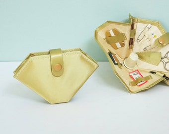 1940s Mending Kit, Stocking Stuffer, Gold Satin Folding Wallet, Unused Sewing Set with Thimble, Thread, Needles, Snaps, Pins & Tiny Scissors