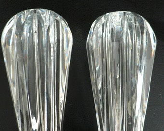 mid century glass candleholders/ vintage 1950s set of two candlestick holders/ modernist candle holders