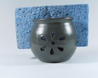 Sponge Holder - Sponge cup - Blue Green Matte - Handmade Wheel Thrown Stoneware Ceramic Pottery