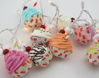 """Cupcake Lights Twinkle Lights """"I Heart Cherry Collection"""" 10 Mini Cupcakes Fab Bakery/Kitchen Decor First on Etsy 12 Legs Original Concept"""