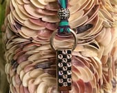 Swarovski Crystal Whistle on Teal and Purple Hand Dyed Silk