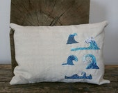 Hand embroidered linen surfable waves pillow