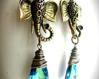 Antique Golden Exotic Elephant and Bermuda Blue Swarovski Crystal Earrings